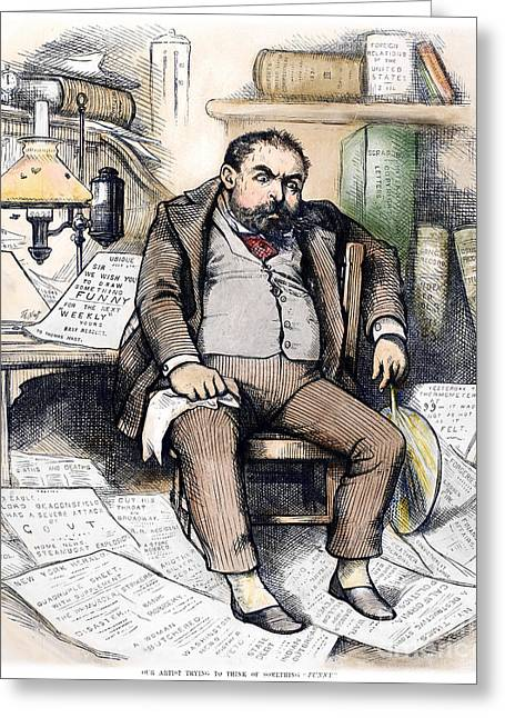 Recently Sold -  - Sweating Greeting Cards - Thomas Nast (1840-1902) Greeting Card by Granger