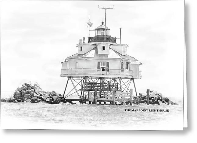 Thomas Point Lighthouse Greeting Card by Laurie Williams