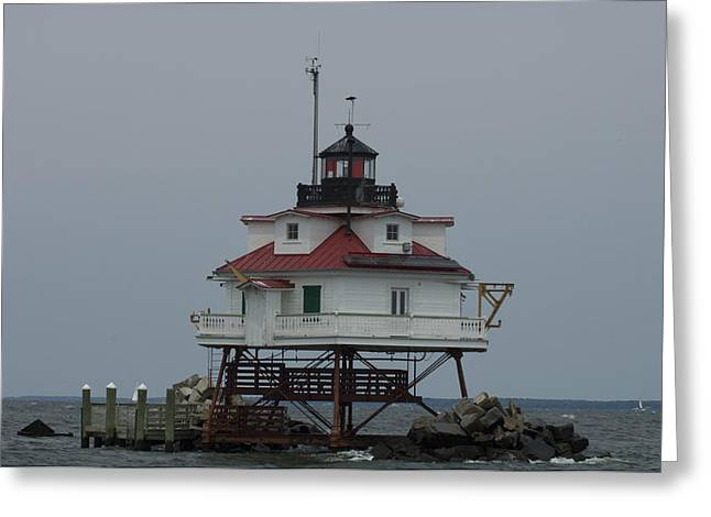 Thomas Point Shoal Lighthouse Greeting Card by Paul Sutherland