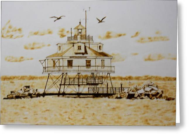 Thomas Point Shoals Station Lighthouse Greeting Card by H Leslie Simmons