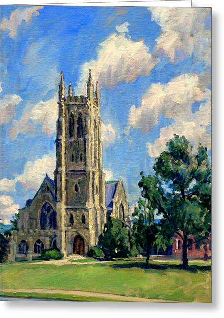 Abstract Realist Landscape Greeting Cards - Thompson Chapel Williams College Greeting Card by Thor Wickstrom