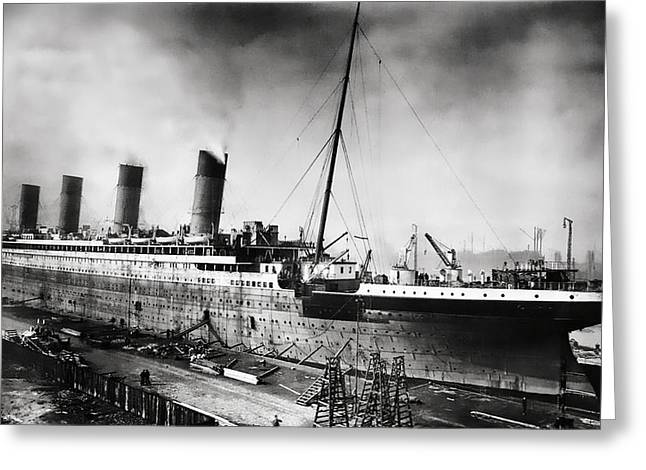 Star Line Greeting Cards - Thompson Drydock - Titanic Greeting Card by Chris Cardwell