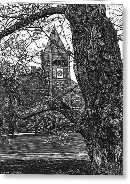 Universities Drawings Greeting Cards - Thompson Hall at UNH Greeting Card by Robert Goudreau