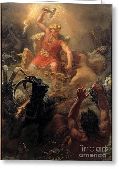 Thor Mixed Media Greeting Cards - Thor Fighting Giants Greeting Card by Frederick Holiday
