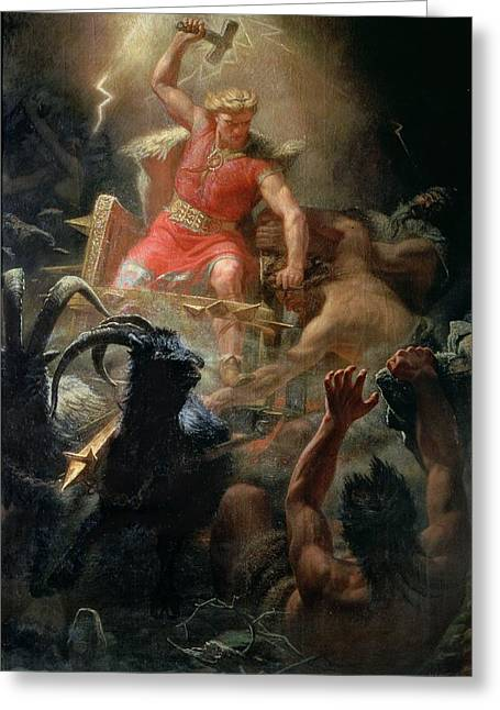 Hammer Paintings Greeting Cards - Thor Fighting with the Giants Greeting Card by Marten Eskil Winge