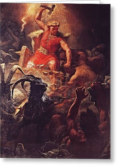 Thor Paintings Greeting Cards - Thor God of the Vikings  Greeting Card by Marten Eskil Winge