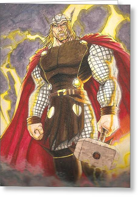 Thor Mixed Media Greeting Cards - Thor- God Of Thunder Greeting Card by Lee  Ah yen