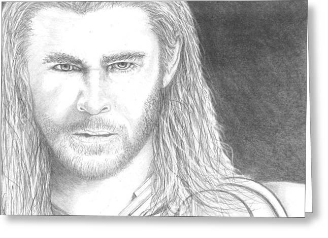Thor Drawings Greeting Cards - Thor Greeting Card by Jennifer Campbell Brewer