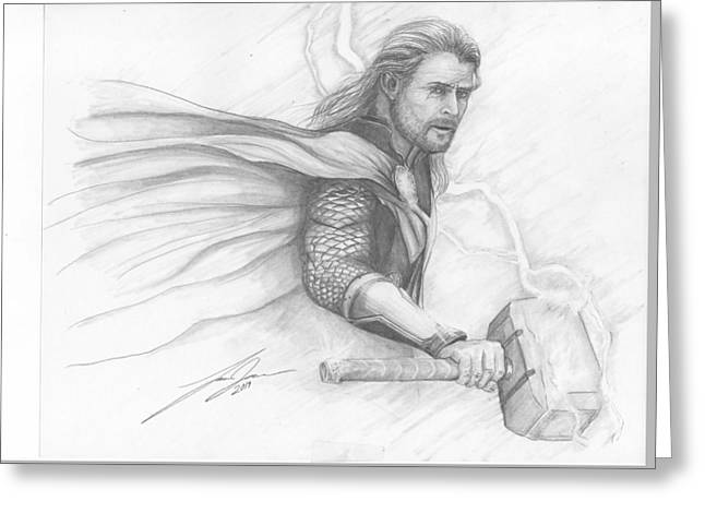Thor Drawings Greeting Cards - Thor Greeting Card by Lance James