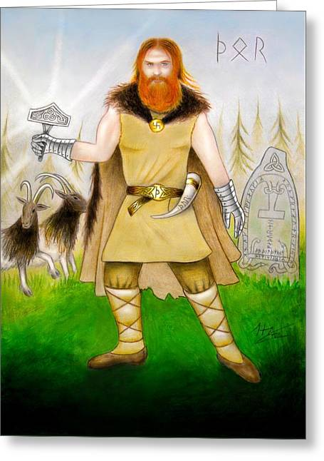 Thor Mixed Media Greeting Cards - Thor Odinsson Greeting Card by Ilias Patrinos