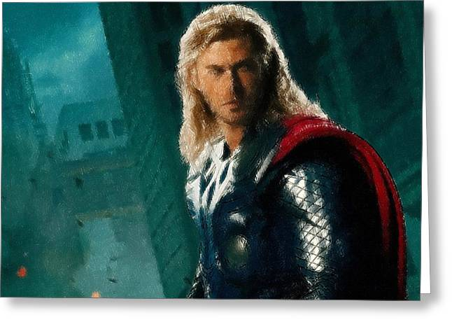 Book Pastels Greeting Cards - Thor Oil Pastel Sketch Greeting Card by Movie Poster Prints