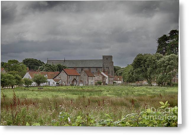 Thornham From The Marsh Greeting Card by John Edwards