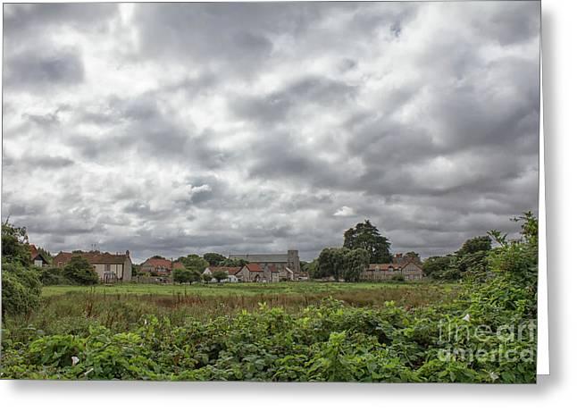 Thornham Village Under A Leaden Sky Greeting Card by John Edwards