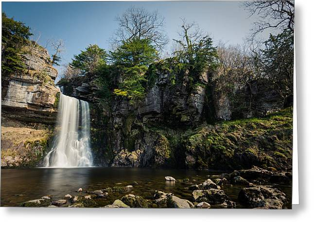 Flowing Greeting Cards - Thornton Force Waterfall In Ingleton Yorkshire. Greeting Card by Daniel Kay