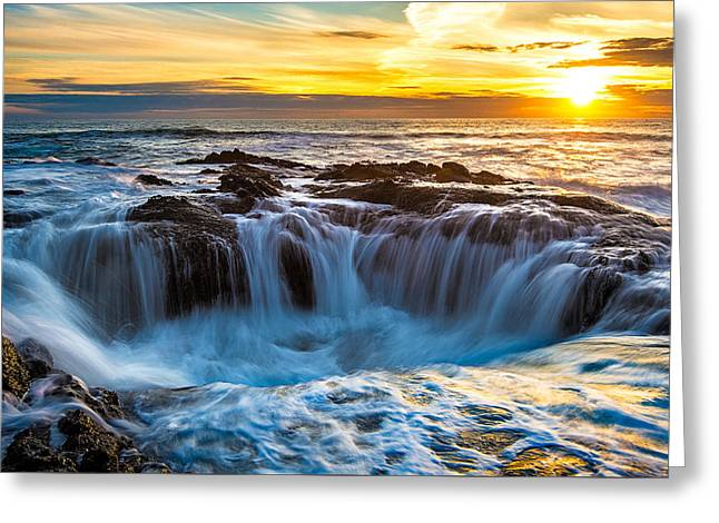 Thor's Well Greeting Card by Patrick Campbell