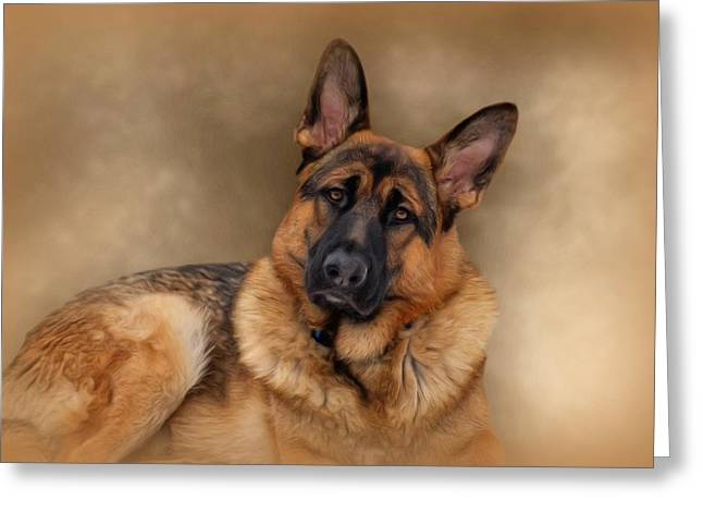 Gsd Greeting Cards - Those Eyes Greeting Card by Sandy Keeton