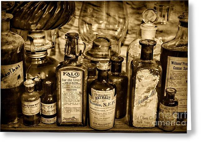 Medical Greeting Cards - Those Old Apothecary Bottles in Sepia Greeting Card by Paul Ward