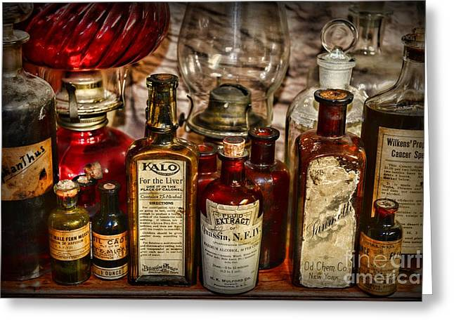 Medical Greeting Cards - Those Old Apothecary Bottles Greeting Card by Paul Ward