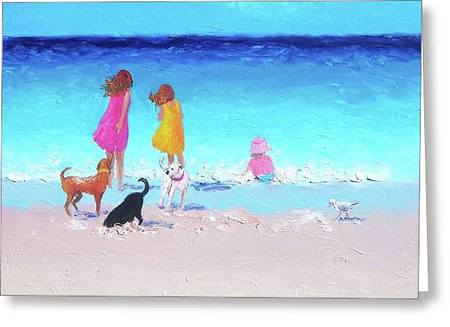 Children At Beach Greeting Cards - Those summer days Greeting Card by Jan Matson