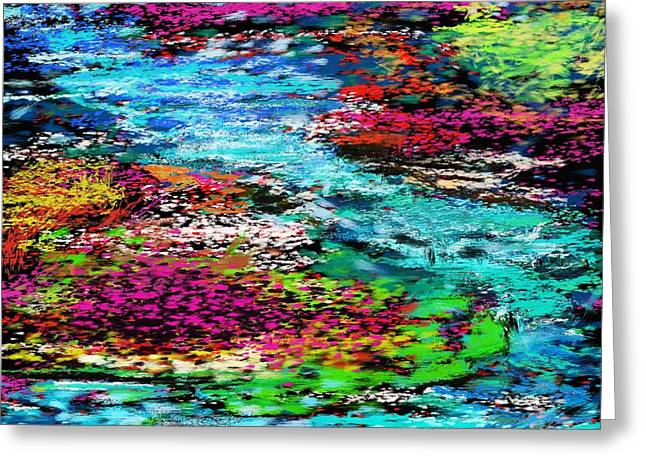 Abstract Digital Greeting Cards - Thought Upon A Stream Greeting Card by David Lane