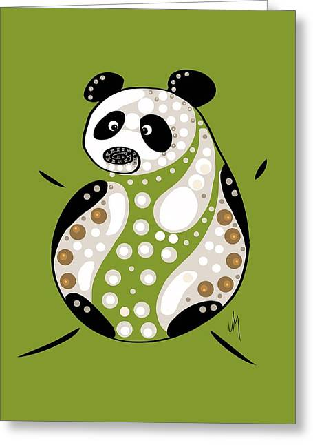 Puppies Paintings Greeting Cards - Thoughts and colors series panda Greeting Card by Veronica Minozzi