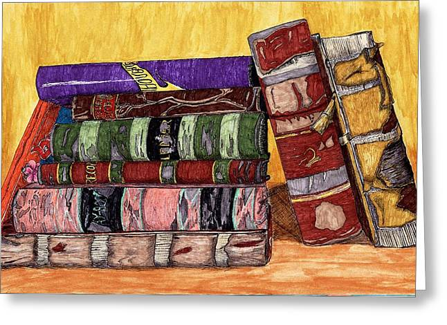 Ledger; Book Drawings Greeting Cards - Thoughts Greeting Card by Judith Livingston