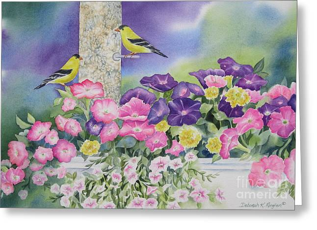 Bird-feeder Greeting Cards - Thoughts Of You Greeting Card by Deborah Ronglien