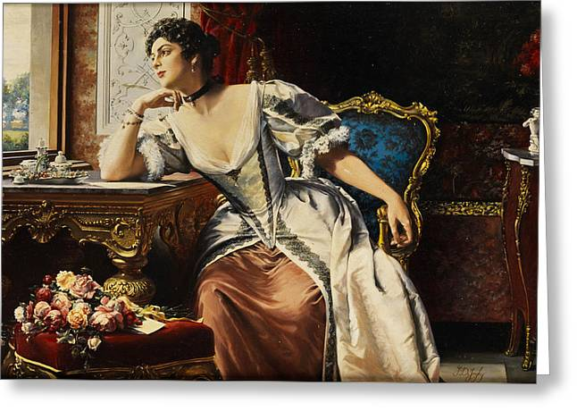 Thoughts When Writing The Letter Greeting Card by Gustave Leonard de Jonghe