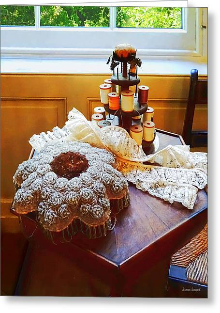 Carousels Greeting Cards - Thread Carousel and Lace Greeting Card by Susan Savad