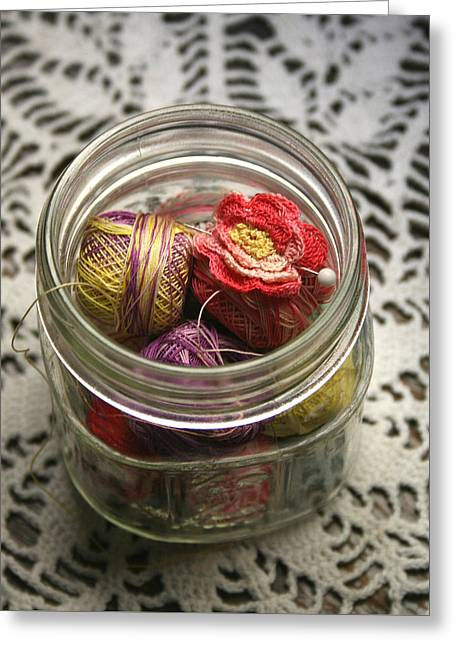 Thread Jar Greeting Card by Marna Edwards Flavell