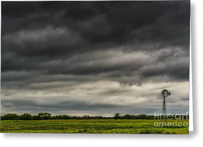 Leaden Sky Greeting Cards - Threatening Sky Windmill Greeting Card by Thomas R Fletcher