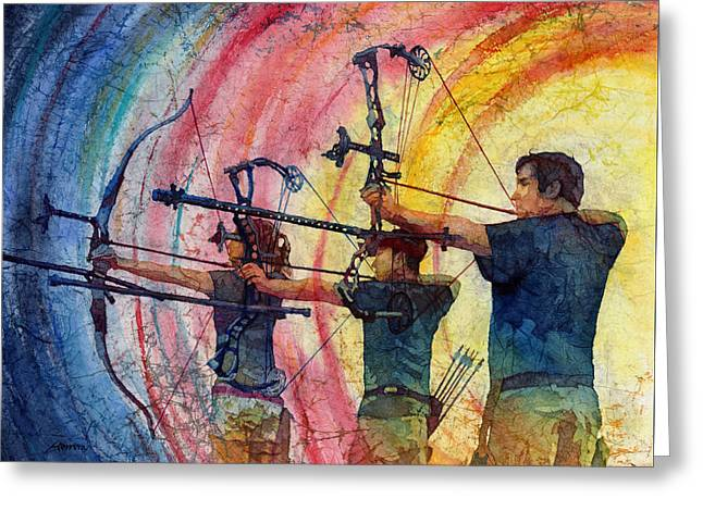 Archery Paintings Greeting Cards - Three 10s Greeting Card by Hailey E Herrera
