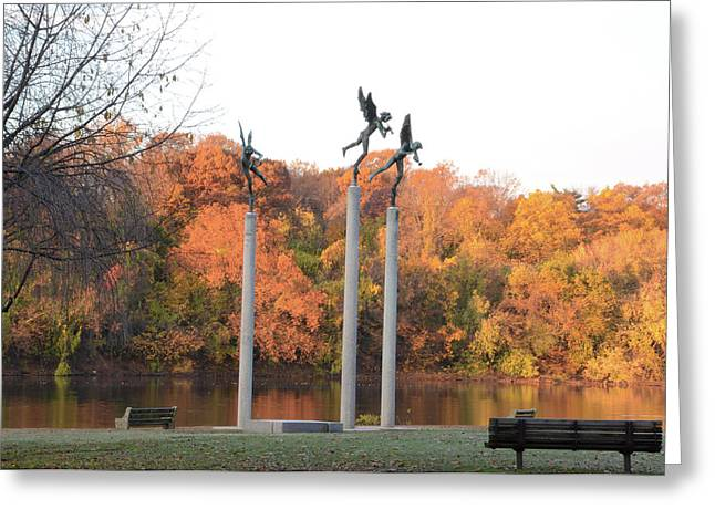 Three Angels - Autumn On The Schuylkill Greeting Card by Bill Cannon