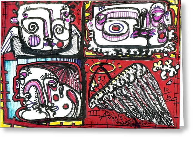 Guardian Angel Drawings Greeting Cards - Three Angels Greeting Card by Robert Wolverton Jr