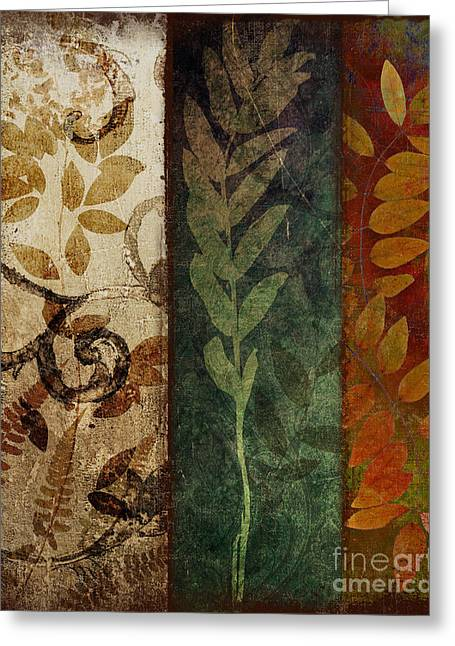 Ecru Greeting Cards - Three Autumns Greeting Card by Mindy Sommers