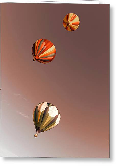 Three Balloons Swirling Skyward Greeting Card by Jeff Swan