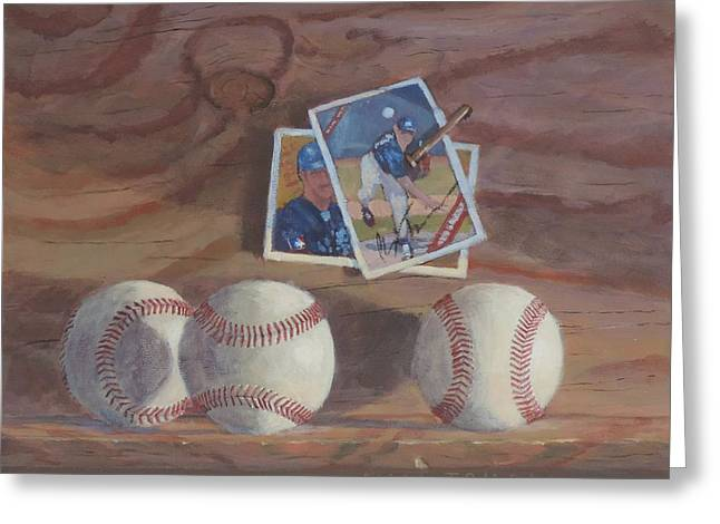 Batter Paintings Greeting Cards - Three Balls Greeting Card by Bill Tomsa