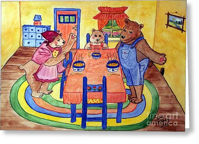 Porridge Greeting Cards - Three Bears Greeting Card by Julie Brugh Riffey