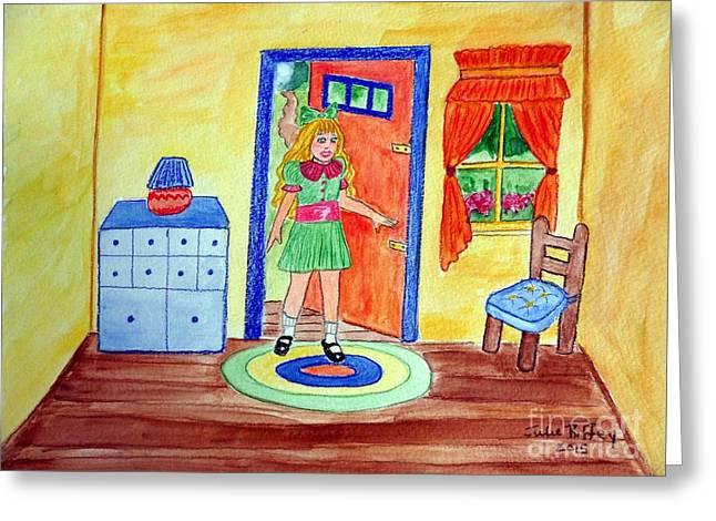 Goldilocks Greeting Cards - Three Bears Visitor Greeting Card by Julie Brugh Riffey