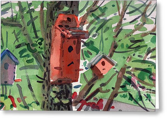 Birdhouse Greeting Cards - Three Birdhouses Greeting Card by Donald Maier