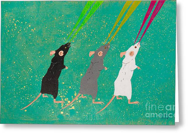 White Paintings Greeting Cards - Three Blind Mice Greeting Card by Stefanie Forck
