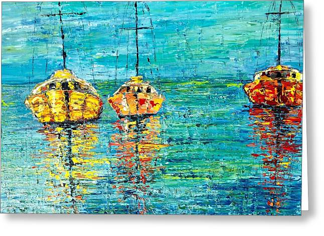 Three Boats Limited Edition Greeting Card by Julia S Powell