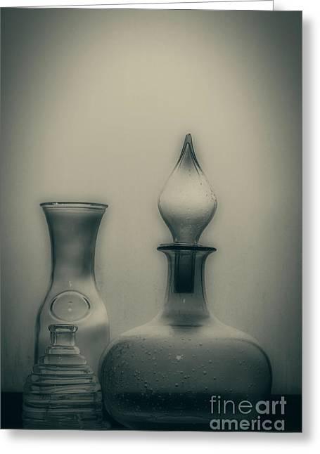 Three Bottles Greeting Card by Linda Lees