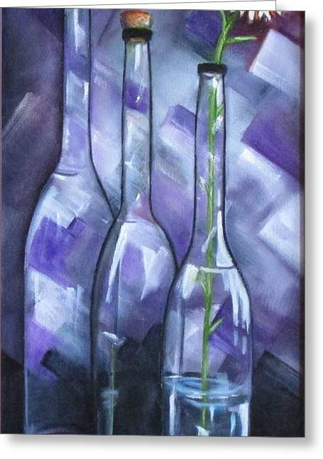 Wine-glass Greeting Cards - Three Bottles One Flower Greeting Card by Judy Lybrand