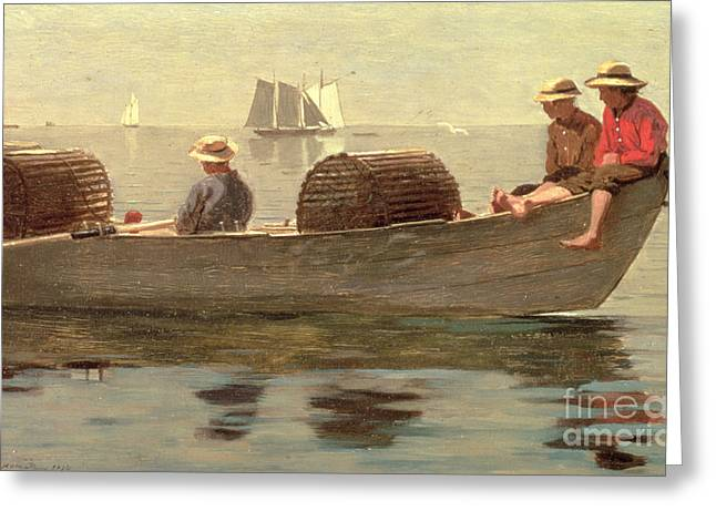 Calm Waters Paintings Greeting Cards - Three Boys in a Dory Greeting Card by Winslow Homer