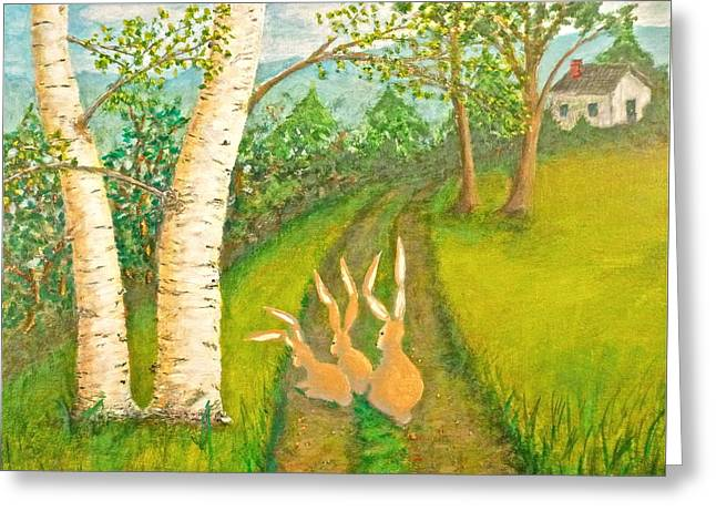 Recently Sold -  - Roadway Greeting Cards - Three Brown Rabbits Greeting Card by Jerry White