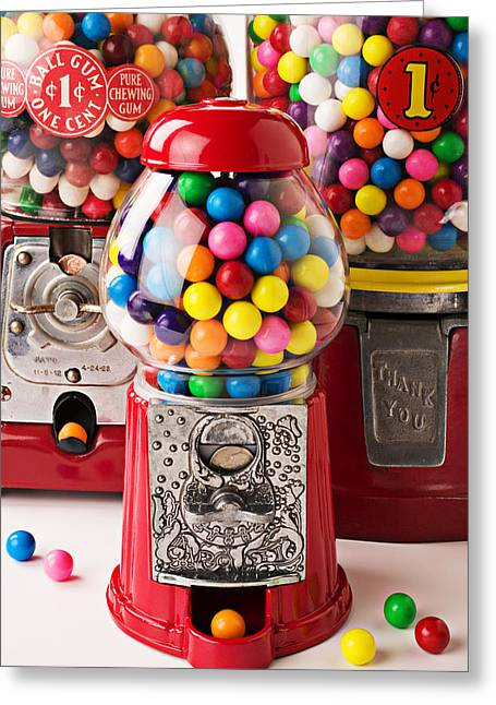 Sweetness Greeting Cards - Three bubble gum machines Greeting Card by Garry Gay