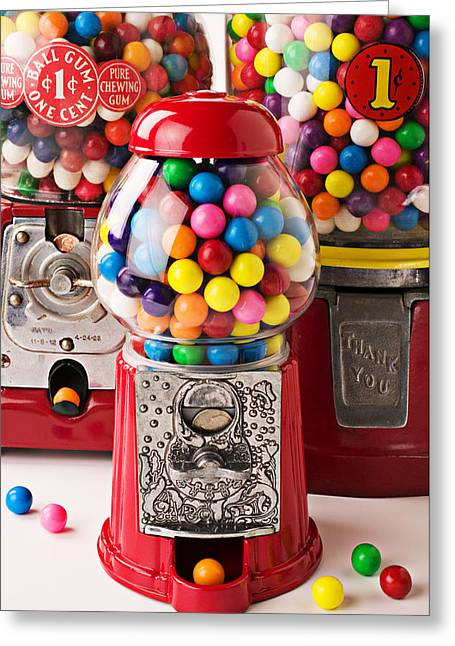 Three Bubble Gum Machines Greeting Card by Garry Gay