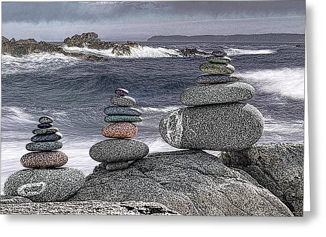 Monolith Greeting Cards - Three Cairn Seascape Greeting Card by Marty Saccone