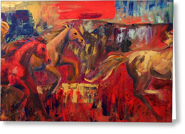 Horse Herd Greeting Cards - Three Greeting Card by Cher Devereaux